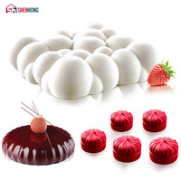 SHENHONG 3PCS Set Art Cake Mould Pan 3D Clouds Pumpkin Round Mousse Silicone Mold Silikonowe Chocolate