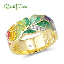 SANTUZZA Silver Ring For Women 925 Sterling Silver Fashion Rings Gold Color Cubic Zirconia Ringen Party Jewelry Enamel Handmade cheap 925 Sterling GDTC Pave Setting Silver Rings For Women ROUND TRENDY Wedding Bands Gold rings for women Metal Rings Women Rings