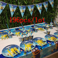 196Pcs/Lot Minions Theme Cartoon Kid Birthday Party Paper Cup Plate Disposable Tableware Christmas Flag Hat Decoration Supplies