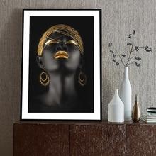 цены на African Woman With A Gold Headscarf Wall Art Canvas Paintings Modern Black Girl Pop Art Decorative Canvas Prints For Living Room  в интернет-магазинах