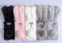 Rabbit Fuzzy Fur Plush Soft TPU Case For LG G5 Sony Xperia XA Huawei P9 Lite