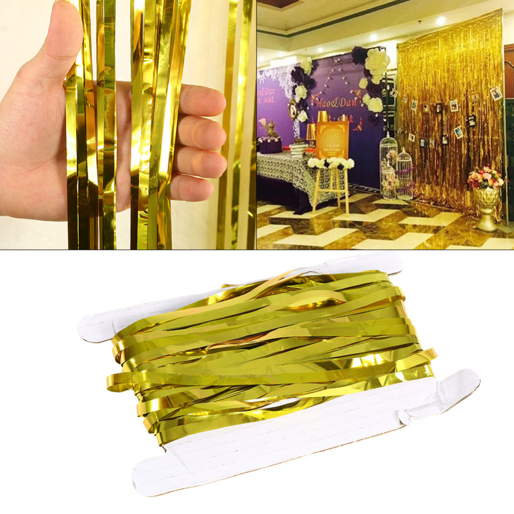 Wedding Wall Curtain Party Kids Home Metallic Fringe Shimmer Foil ...
