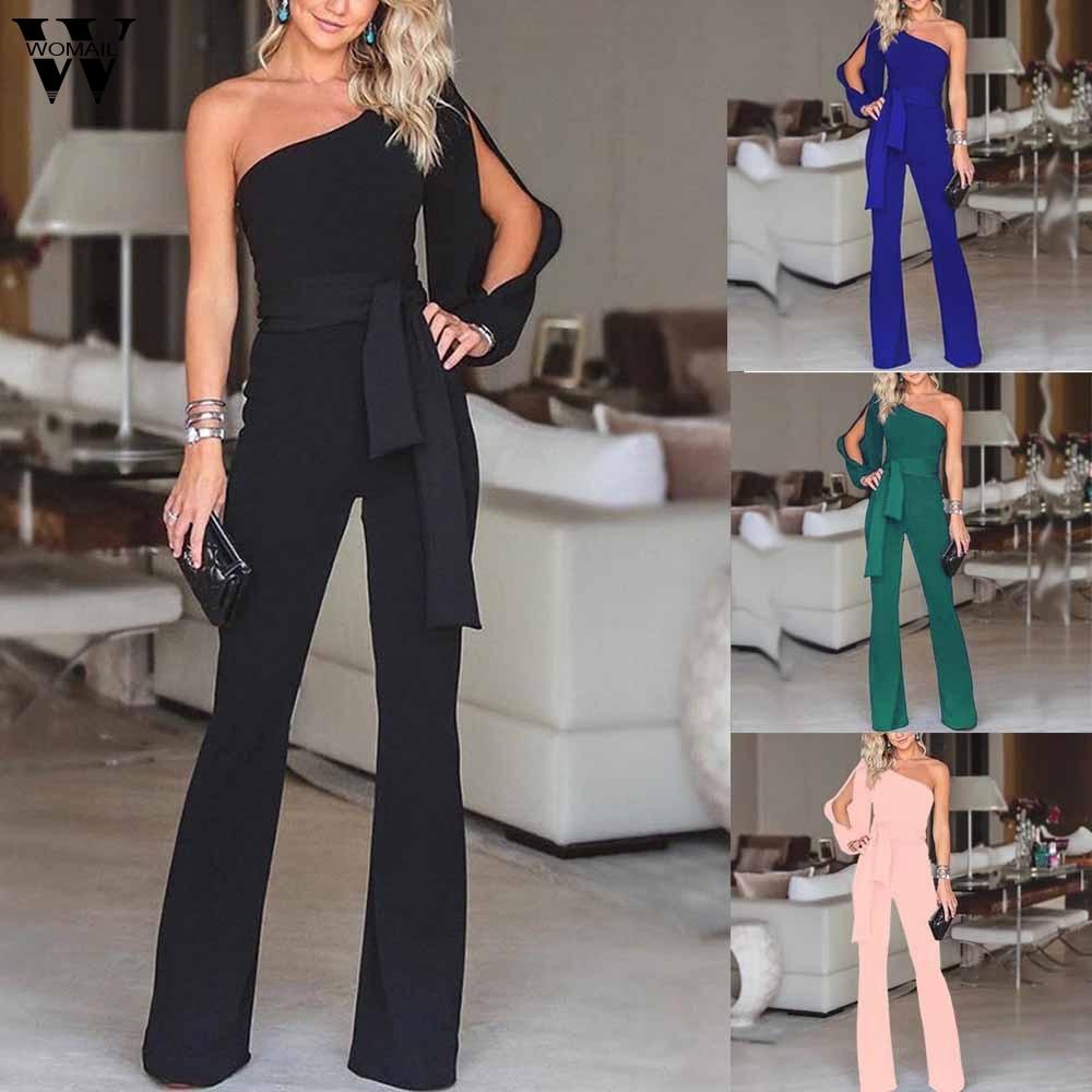 Womail bodysuit Women Summer Casual Solid Long Sleeve Cold Shoulder Jumpsuit Clubwear Wide Leg Jumpsuit fashion 2020 M1