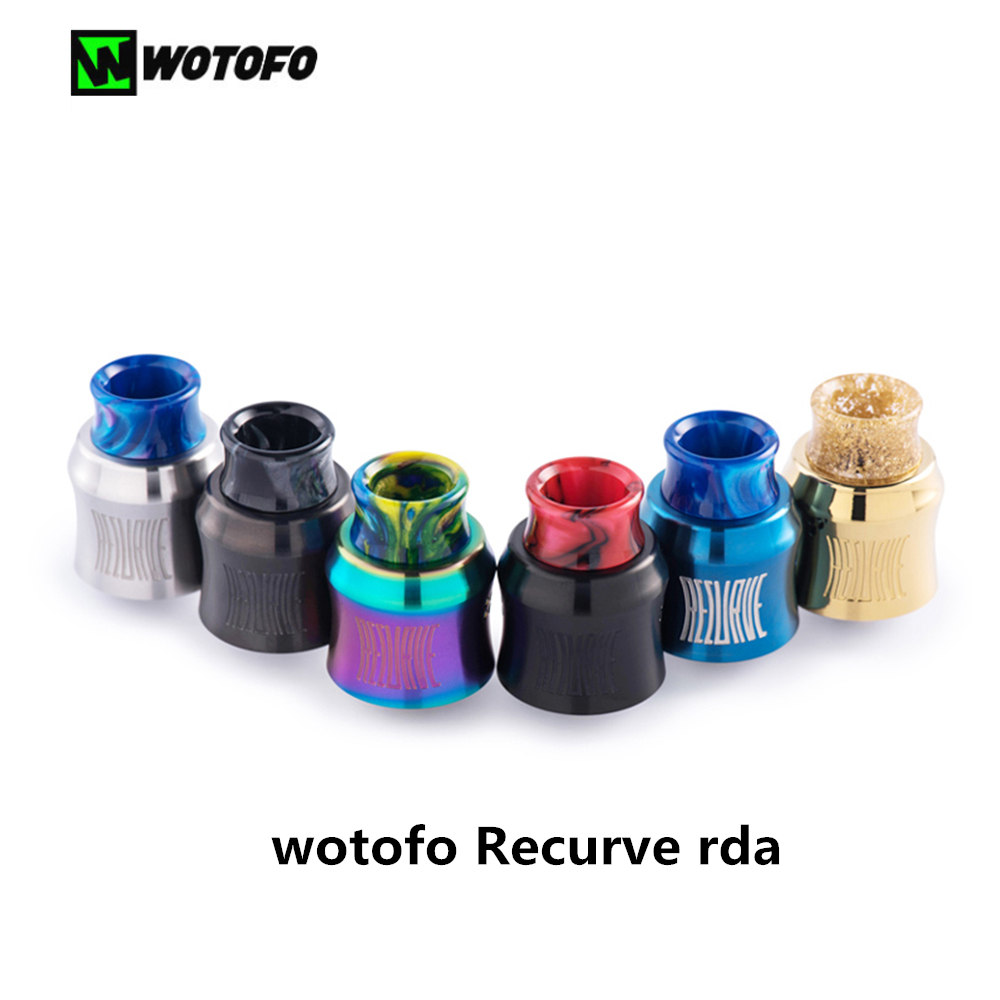 Original Wotofo Recurve RDA 24mm Tank Vape Rebuilding Dripping Atomizer single coil vape tank E-cigarette atomizer Fit 510 SMOK