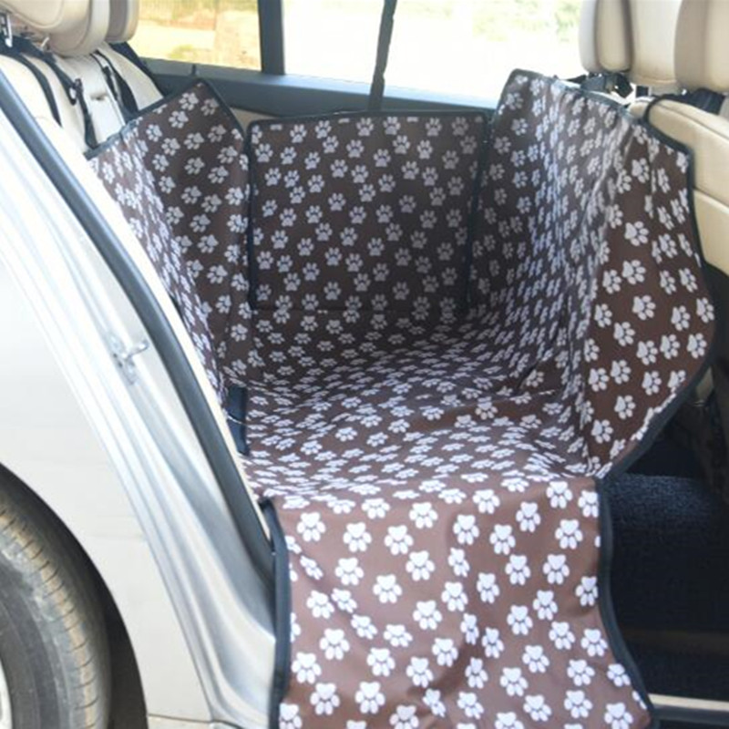 Coffee Oxford Fabric Paw pattern Car Pet Seat Covers Waterproof Back Bench Seat Travel Accessories Dog Car Seat Blanket Hammock