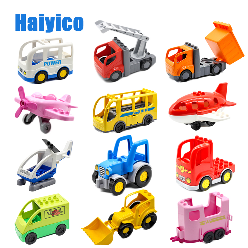 Mini Cars Plane Big Building Blocks Bus Carriage Truck Van Trailer Helicopter Compatible Duplo City Vehicle Sets Toys child Gift