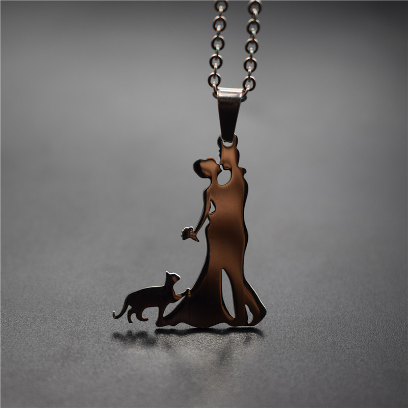 Elfin New Family Necklace Stainless Steel Lovers Couple Kiss Pendant Necklace Cat Necklace Figure Jewellery