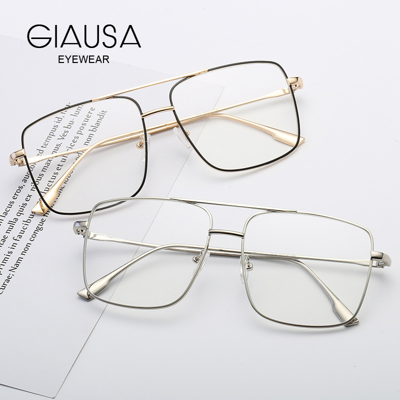 Prescription Glasses Men Women Optical Myopia Eyeglasses Alloy Ultralight Oversized Square 2019 Metal Eyewear 1.56 1.61 Lens(China)