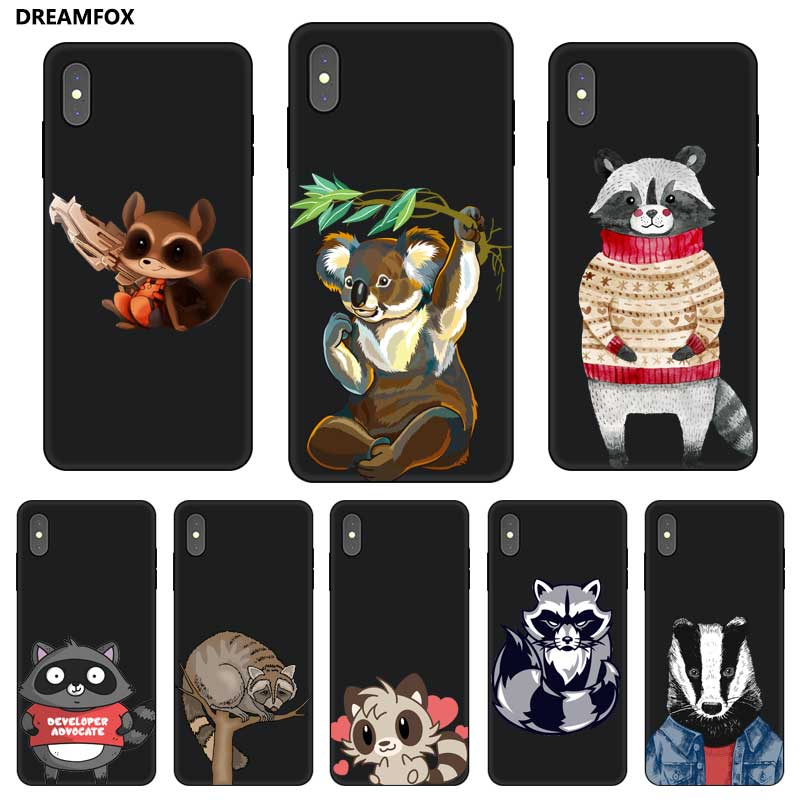 P174 Raccoon Black Silicone Case Cover For Apple iPhone XR XS Max X 8 7 6 6S Plus 5 5S SE in Fitted Cases from Cellphones Telecommunications