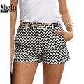 Shein mujer pantalones cortos de verano de la nueva llegada negro y blanco mid cintura mosca botón casual algodón bolsillo cortocircuitos rectos