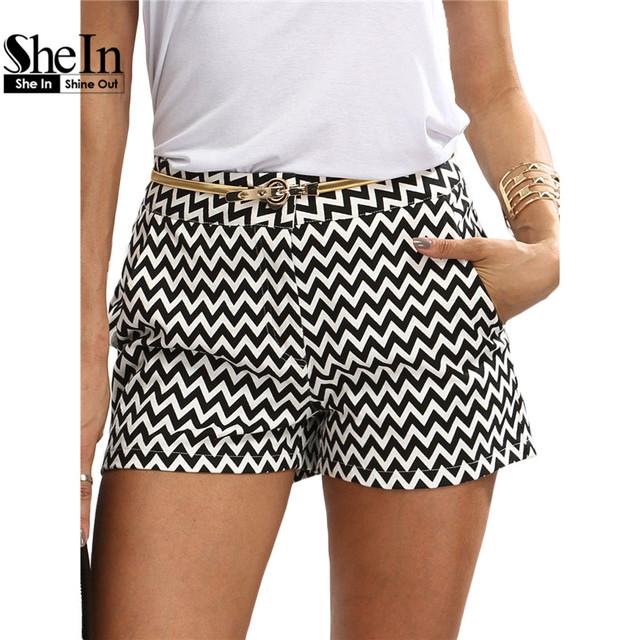 Shein mulher mid cintura shorts verão nova chegada preto e branco botão voar bolso ocasional shorts de algodão em linha reta