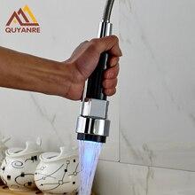 Chrom poliert LED Schwarz Küchenarmatur Ziehen Hahn Sprayer Ersatz Düse