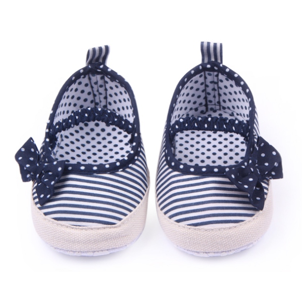 Newest Infantborn Baby Boys Girls Kid Cute Bow Stripe Soft Sole Shoes Sneaker 0-12M Shoes
