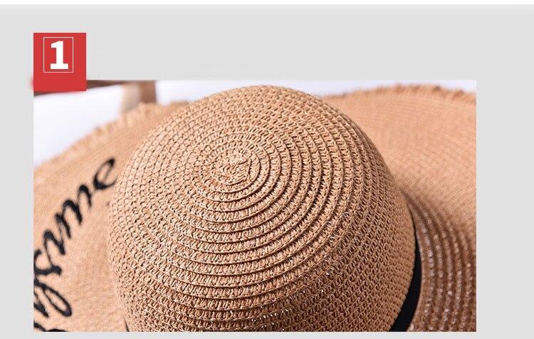 chapeau Lettre Brode Large Bord de paille panama