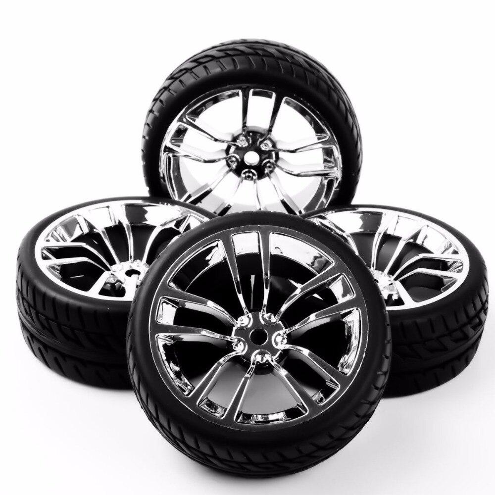 4pcs Rubber Tires Wheel Rim Set For HSP RC 1:10 Flat Racing On Road Car Accessories держатель для туалетной бумаги и ёршик для туалета tatkraft mega lock