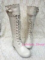 Милые туфли принцессы в стиле Лолиты Lolilloliyoyo antaina, обувь японского дизайна, белые высокие сапоги с кружевом и бантом, an9022