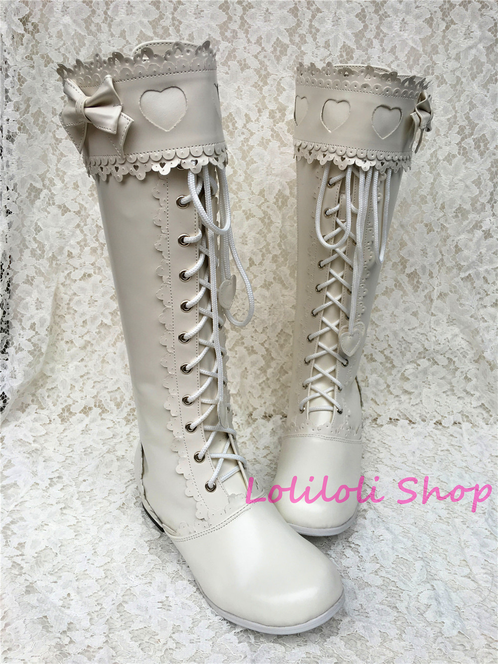 Princess sweet lolita shoes Lolilloliyoyo antaina Japanese design shoes custom white high-topped boots with lace and bow 9022