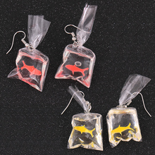 Lovely Candy Color Fish 1PairAnimal Resin Goldfish Girls Transparent Bag Beautiful Hot Sale Red Yellow Drop Earring Dangle Cute