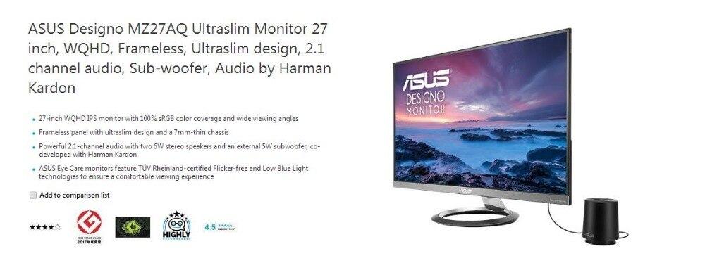 US $676 99 |ASUS Designo MZ27AQ Ultraslim Monitor 27 inch, WQHD, Frameless,  Ultraslim design, 2 1 channel audio, Sub woofer, Audio by Harman-in LCD