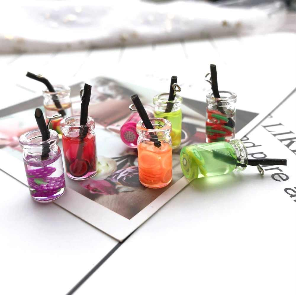 28*10mm 10pcs Kawaii  Fashion Glass juice cup Charms  for DIY decoration neckalce earring key chain Jewelry Making