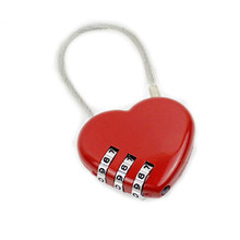 2018 Kawaii Red/Pink Heart Shaped Mini Resettable 3 Digits Luggage Suitcase Padlock Coded Lock Luggage Lock(China)