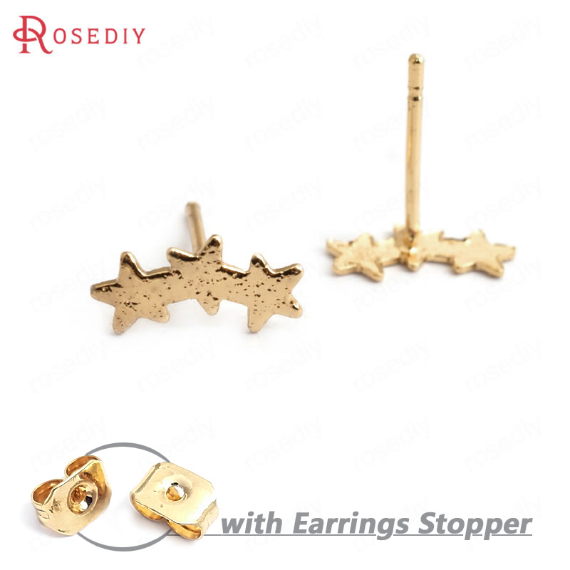 (34986)10PCS Three Star 11.5x5.5MM 24K Gold Color Brass Three Star Stud Earrings High Quality Diy Accessories Jewelry Findings