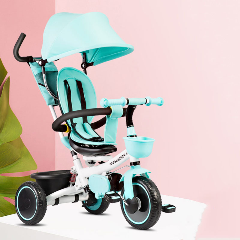 Kids Stroller Shock Absorber With Awning Reverse Installation Pink Blue 1-3-5 Years Old Pedal Tricycle