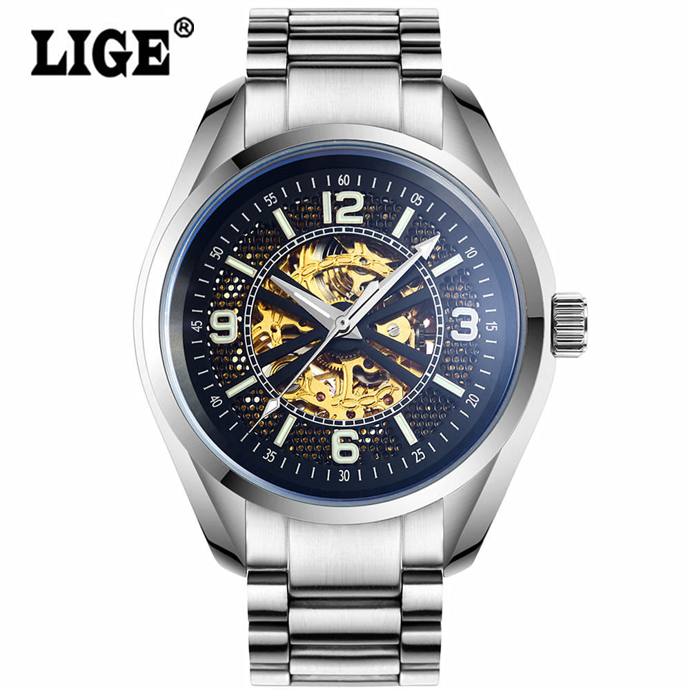 Watch Men Brand LIGE Luxury Automatic Mechanical wristwatch Casual fashion business clock Hollow Skeleton relogio masculino 2016 ik luxury fashion casual stainless steel men automatic mechanical watch skeleton watch for men s dress wristwatch free ship