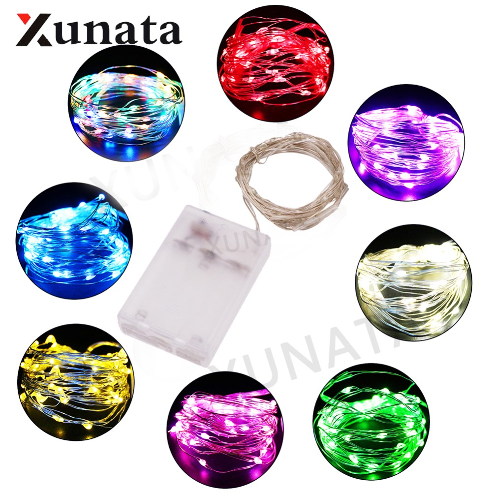 AA Battery 2M 3M 5M 10M Led Christmas Holiday Wedding Xmas Garland Party Decoration LED Copper Wire String Fairy Lights Lamps