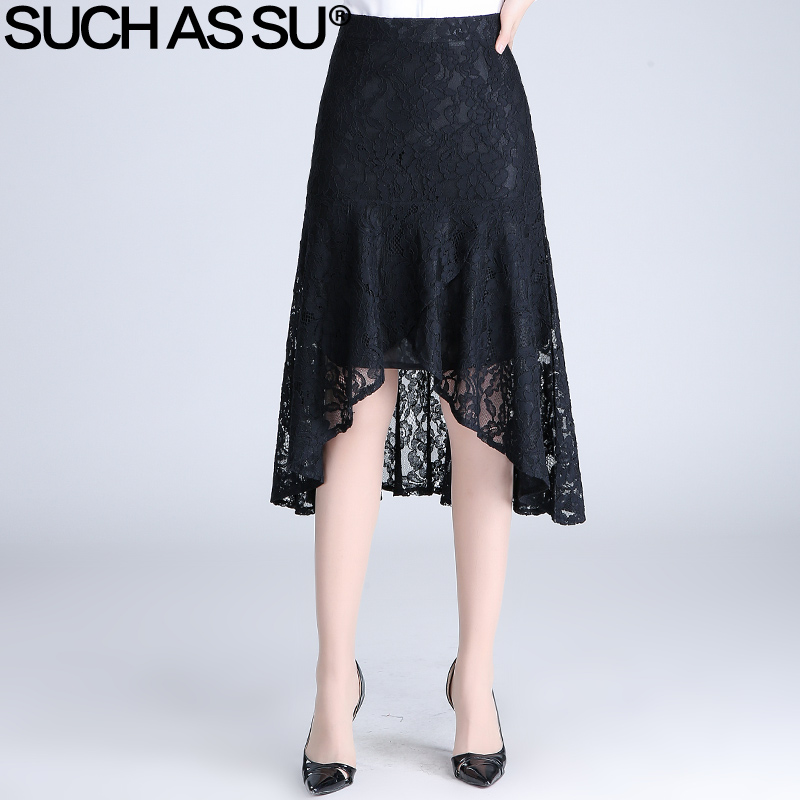 Mid Long Lace Skirt 2017 Summer New Fashion Asymmetrical Women Black High Waist Pleated Skirts S 3XL Female Umbrella Skirt