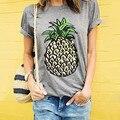 Mulheres de Moda de Frutas Abacaxi Impresso Crewneck O Neck Manga Curta Verão Fino Tee Camisetas Cinza Escuro
