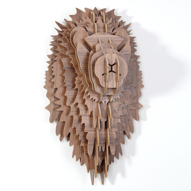 1set Art Wooden Wall Hanging Lion Head 5mm Mdf Wood