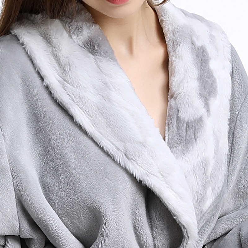 男性女性の毛皮ネック厚手フランネル暖かいロングバスローブ男性の冬着物バスローブメンズドレッシングガウンフリース熱ナイトガウン