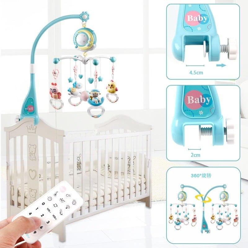 Nouveau bébé hochets jouet berceau Mobiles support de jouet lit Mobile rotatif boîte à musique Projection 0-12 mois nouveau-né jouets pour bébés