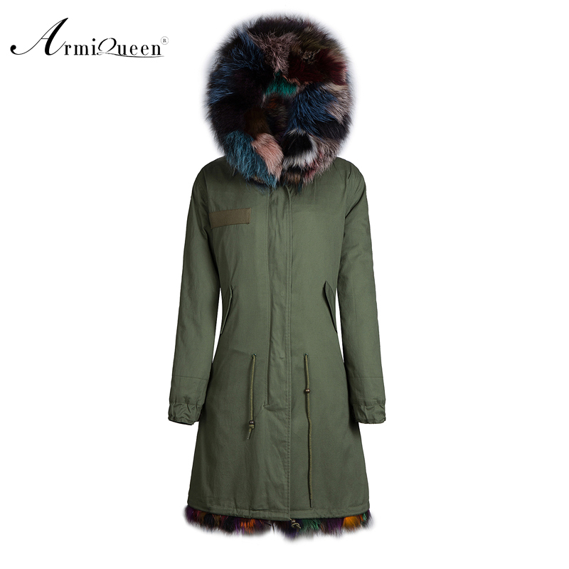 Factory Direct Army Green Coats With White Lined & Fox Collars Ivory Faux Fur Jacket