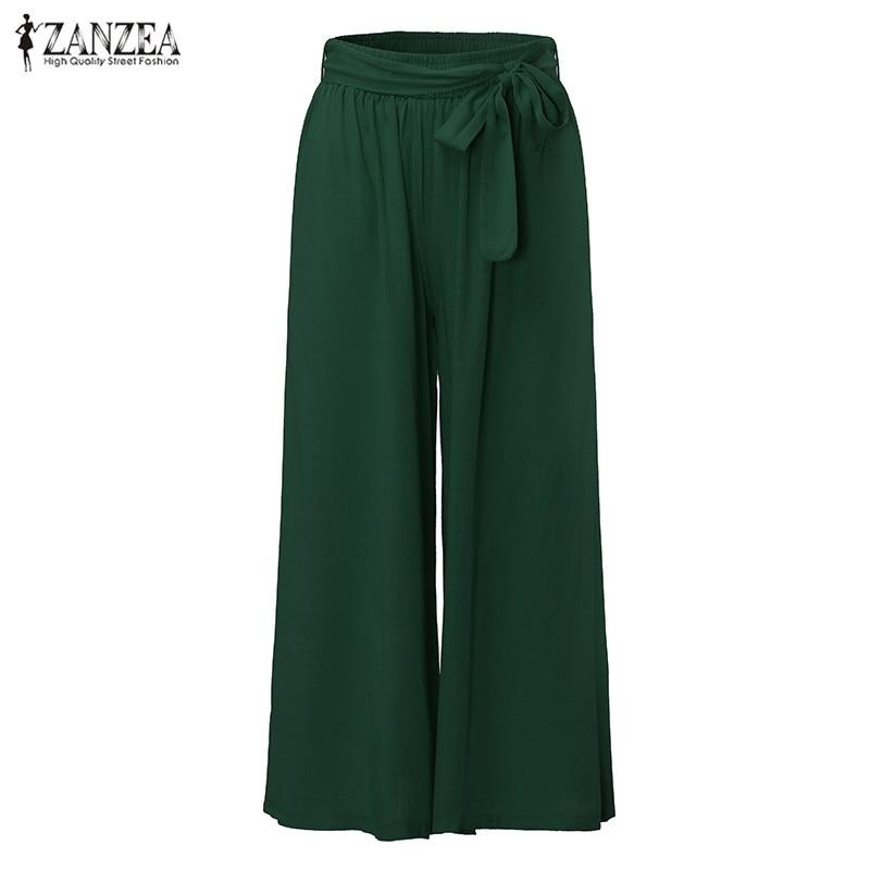 Oversized Casual Loose   Wide     Leg     Pants   2019 Women Fashion Vintage Elastic Waist Trousers Casual Cotton Solid Long   Pants   Plus Size