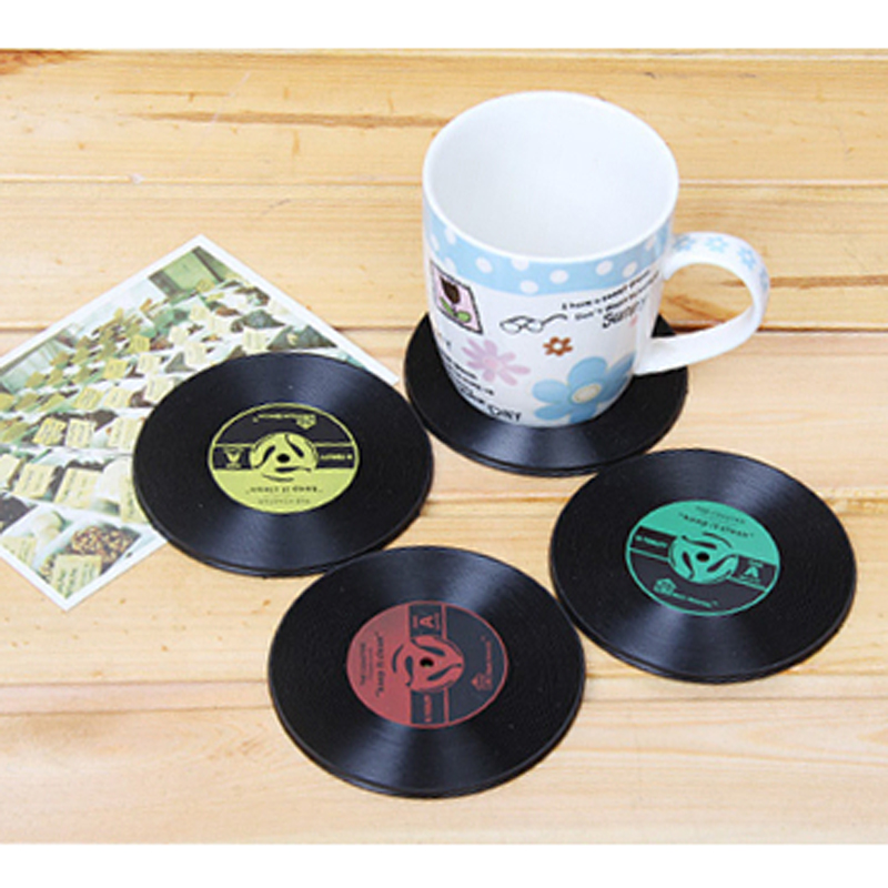 4Pcs Vinyl Vintage Record Coasters Cup Pad Silicone Drinks Coffee Mug Mat Table Placemat ...