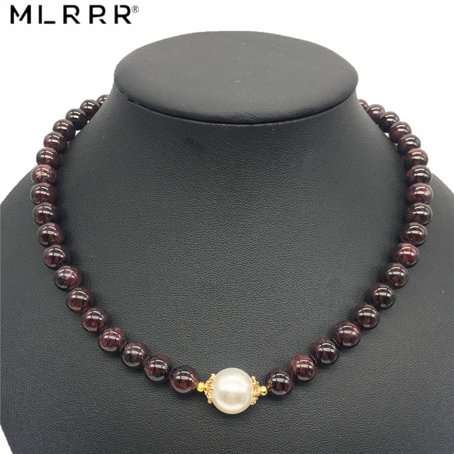 Vintage Classic Natural Stone Jewelry Noble Deep Wine Red Garnets Beaded Charms Chain Choker Necklace with Shell Pearl 45 cm