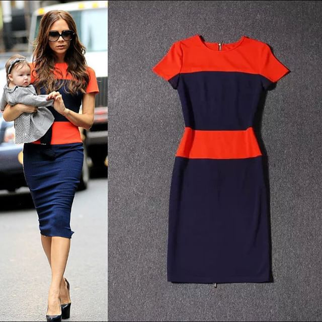 2017 High Quality Patchwork Sheath Dress Victoria Beckham Style New Ol Work Wear Short Sleeves Elegant Midi Office In Dresses From Women S Clothing