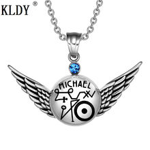 KLDY silver angel Necklace Royal Red blue Crystal Amulet Pendant Magic Planetary Powers Archangel Raphael Angel Wings drop ship(China)