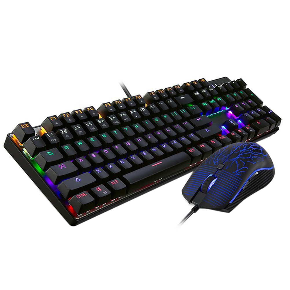 Motospeed CK666 Switches Backlit Mechanical Keyboard With Gaming Mouse [Black] motospeed ck666 gaming keyboard blue switches usb wired ergonomic design led backlit optical mechanical keyboard mouse combo