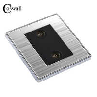 COSWALL Double TV Luxury Wall Socket Power Outlet Enchufe Stainless Steel Brushed Silver Panel Electrical Plug Soquete