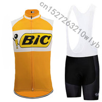 BIC vest Men cycling jersey sleeveless clothing bike classic wear jersey set bib shorts Gel Pad road kit