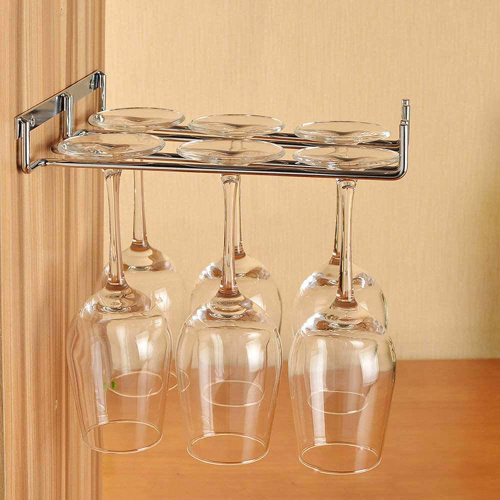 Hængende Metal Vin Cup Rack Sølv / Guld Bar Single / Double Rack Vin Stemware Glas Flaske Bundt Inverted Holder KC0026