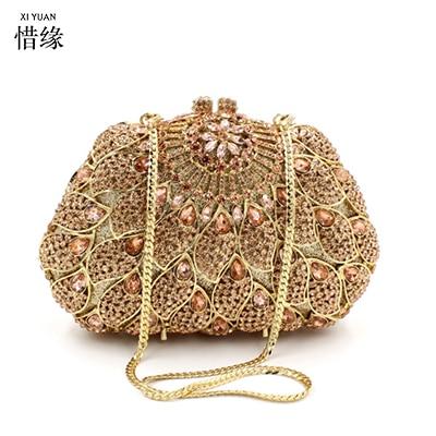 XIYUAN BRAND Handmade Women Luxury Crystal Rhinestones Handbag Diamond Day Clutch Bag Bridal Party Banquet Clutch golden bags