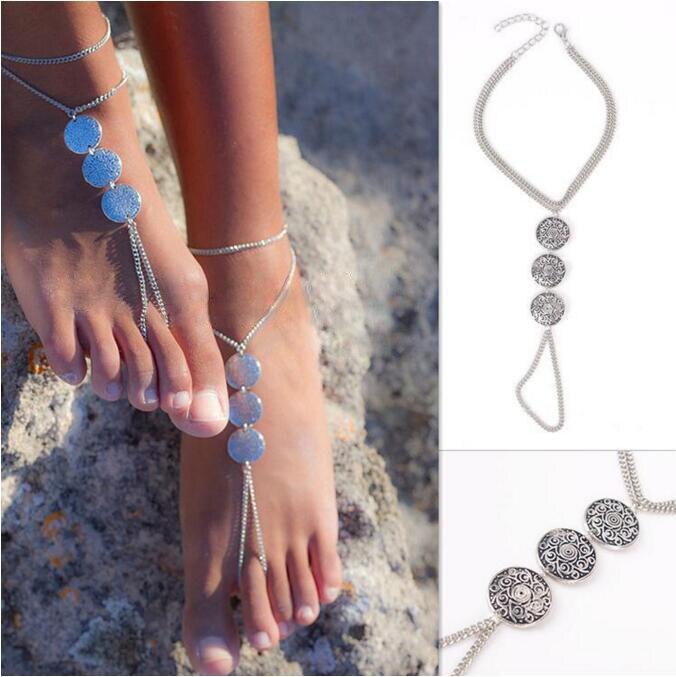 Retro Boho Turkish Coin Tassel Anti-Silver Antalya Anklet Gypsy Beachy Coachella Tassels vintage Women Fashion Foot Jewelry