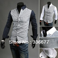 Free shipping men contrast color slim fit button-down casual shirt for men two tone England style QR-2058