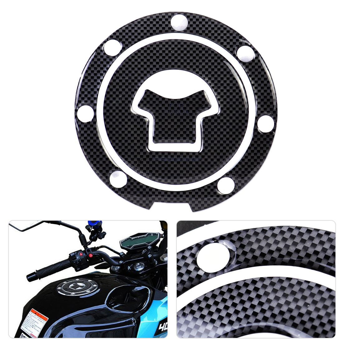 DWCX Black Motorcycle Sticker Fuel Gas Cap Tank Cover Pad Sticker Decal Protector for Honda CBR600RR CBR250R Interceptor 1000