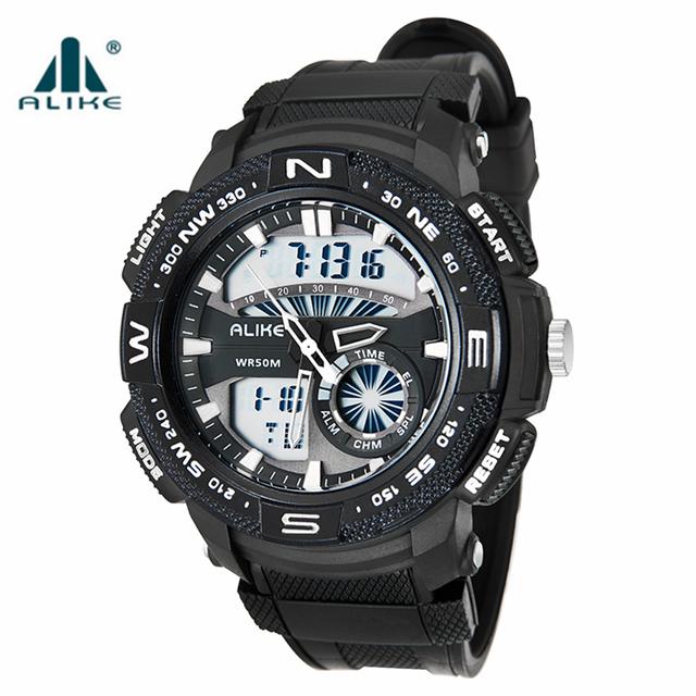 Alike esportes estilo militar russa de data e hora dos homens de borracha relógios dos homens do esporte relógio digital de exibição de 12/24 horas de resistência à água