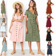 New summer casual button front dress women short sleeve pockets knee length dress female cotton vestidos flower print button front full length dress